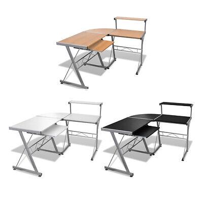 L-shape Corner Computer Desk Pc Laptop Table Workstation Home Blackbrownwhite