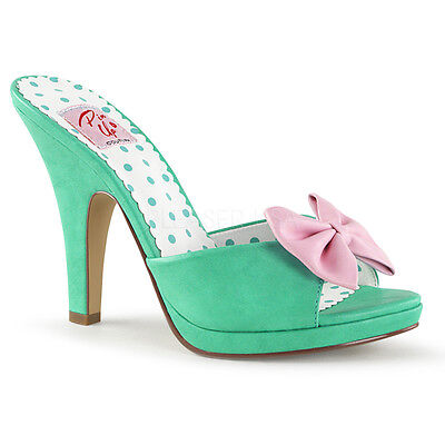 - Sexy 4' High Heel Teal Mini Platform Shoes Slides w/ Bow Accent SIR03/TEAPU