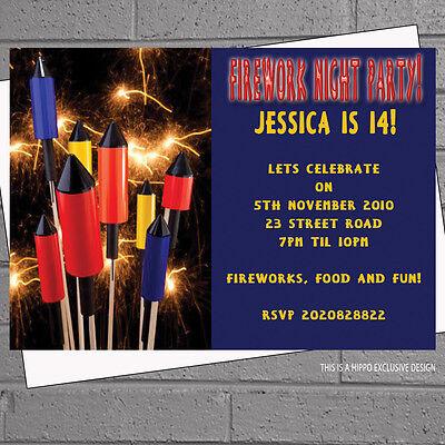 Bonfire Night Nov 5th Fireworks Party Invitations with envelopes x 12 H0774](Bonfire Invitations)