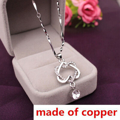 Fashion Copper Silver Women Double Love Heart Pendant Necklace Chain Jewelry