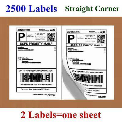 2500 Half Sheet 8.5 X 5.5 Shipping Mailing Labels Self Adhesive Usps Ebay Paypal