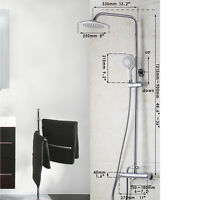 Square 8, Thermostatic Bath Rain Shower Head Mixer Taps + Shower Hand Held Sets - ouboni - ebay.co.uk