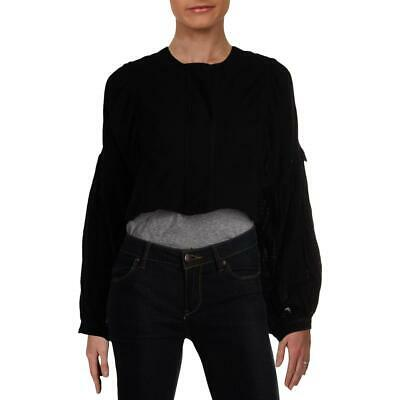 Free People Womens Day Dreaming Black Cotton Peasant Top Blouse L BHFO 7957