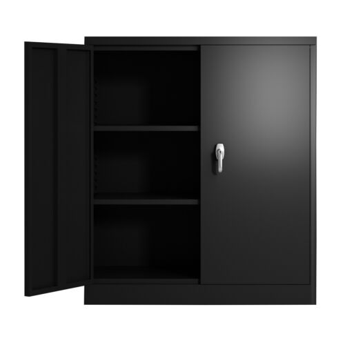 Steel Cabinet 3 Shelves Metal Storage Cabinet 2 Adjustable Shelves with Lock