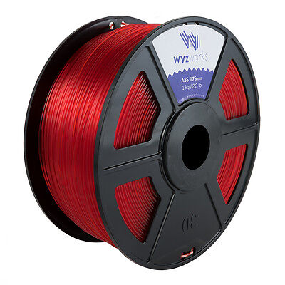 Wyzwork 3d Printer Premium Abs Filament 1.75mm 1kg2.2lb - Translucent Red