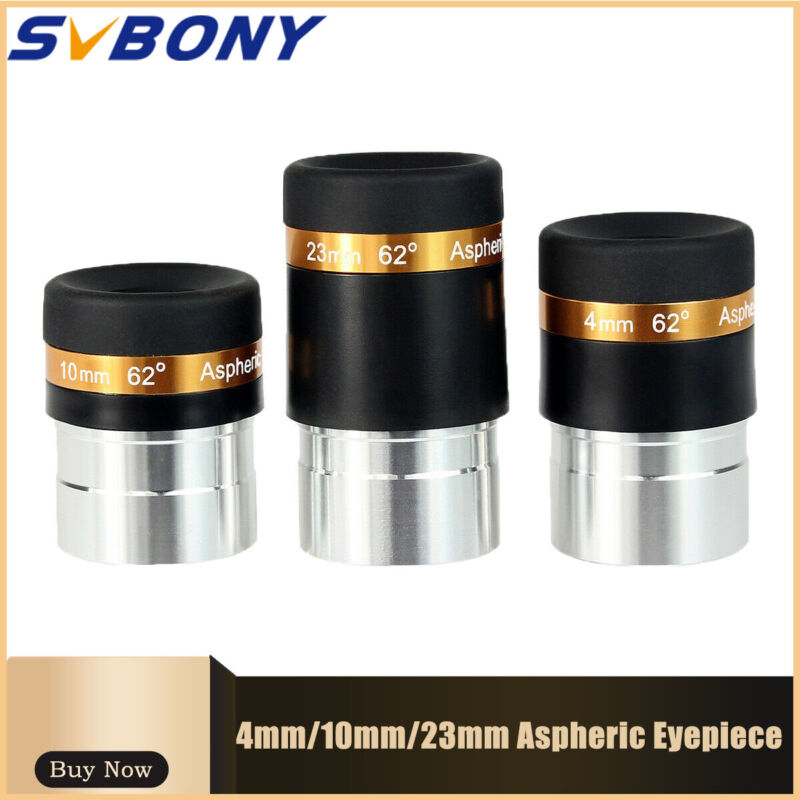 """1.25"""" HD 4/10/23mm Wide Angle 62° Aspheric Telescope Eyepieces Set Astronomy"""