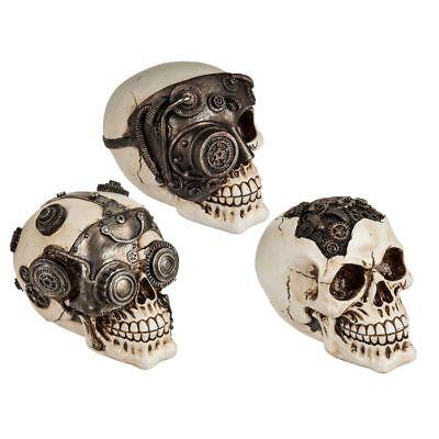 Deko Totenkopf Cyborg Steampunk Totenschädel Dekoschädel Halloween 3 Modelle