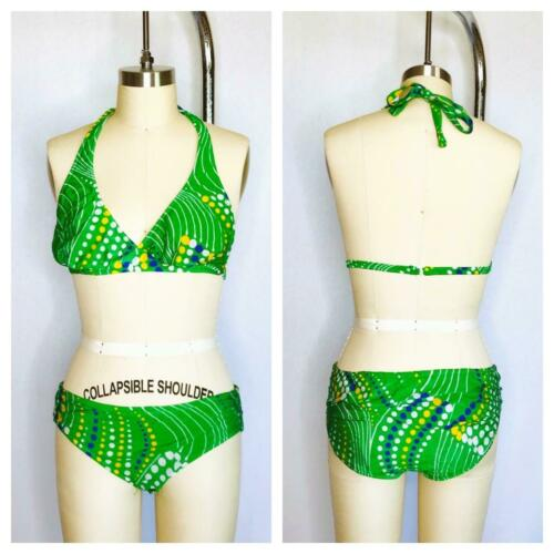 Vintage 70s DEADSTOCK Speedo Bikini Swimsuit Size L Large Halter Green hippy