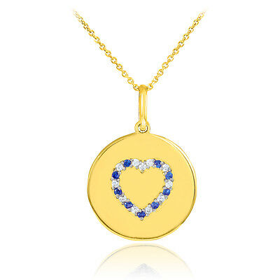 14k Yellow Gold Heart Studded Sapphire & Diamond Disc Pendant Necklace USA Made Diamond Studded Heart Necklace
