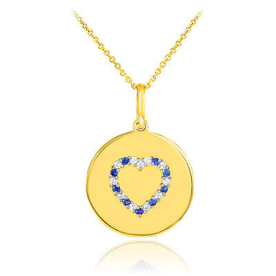 14k Yellow Gold Heart Studded Sapphire & Diamond Disc Pendant Necklace USA Made Diamond Disc Pendant