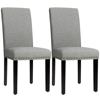 Set of 2 Fabric Dining Chairs Upholstered w/Nailhead Trim & Wood Legs Light Grey