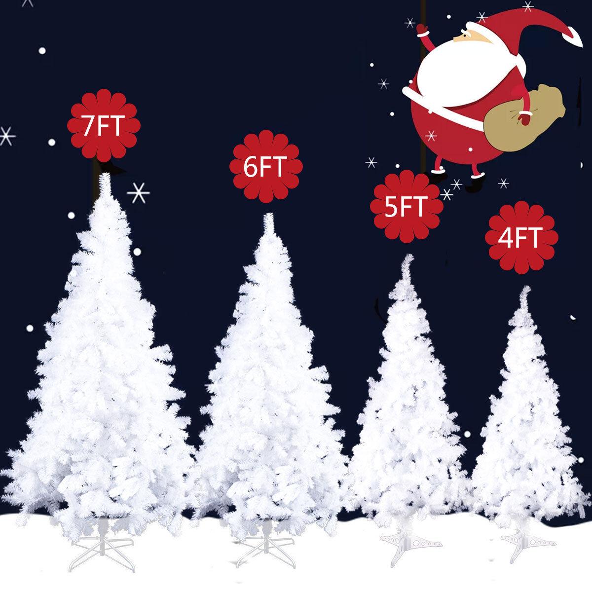 White 4/5/6/7 Feet Tall Christmas Tree W/Stand Holiday Seaso