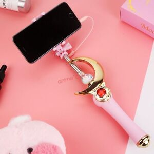 Sailor Moon Selfie Stick Crescent Wand Anime Cosplay Cell Phone