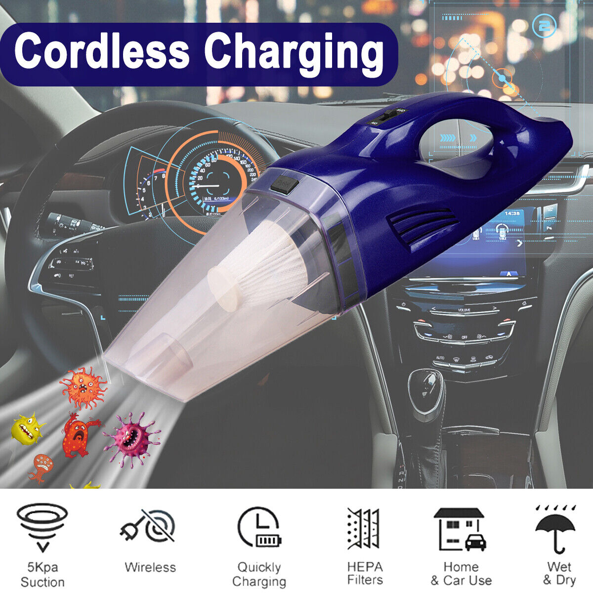 Portable Hand Held Cordless Car Vacuum Cleaner Rechargeable