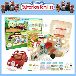 NEW SYLVANIAN FAMILIES CARAVAN + FAMILY SALOON CAR COMBO SET 5045 4611