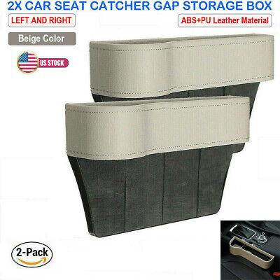 Car Seat Gap Catcher Filler Storage Box Pocket Organizer Holder Leather Beige US