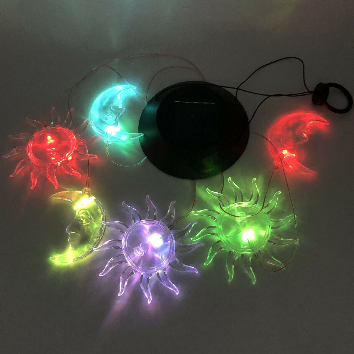 Color-Changing Outdoor LED Solar Sun and Moon Wind Chime Light Yard Garden Decor 3