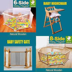 NEW NATURAL WOODEN BABY PLAYPEN AND SAFETY GATE Derrimut Brimbank Area Preview