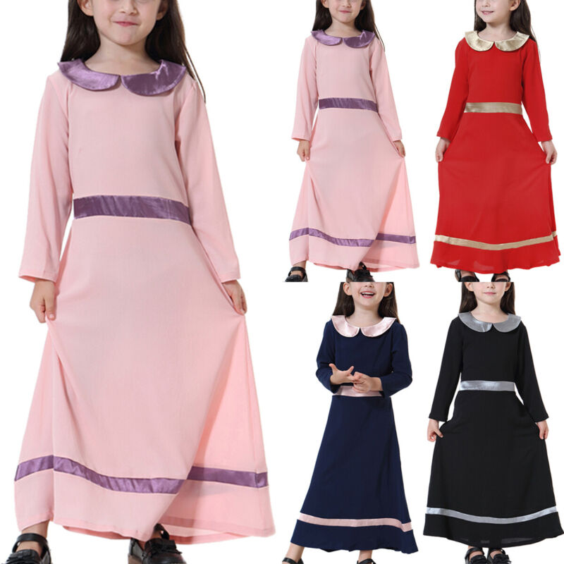 Girls Rose Flower Embroidered Long Maxi Dress Abaya Holiday Islamic 5-13 Years