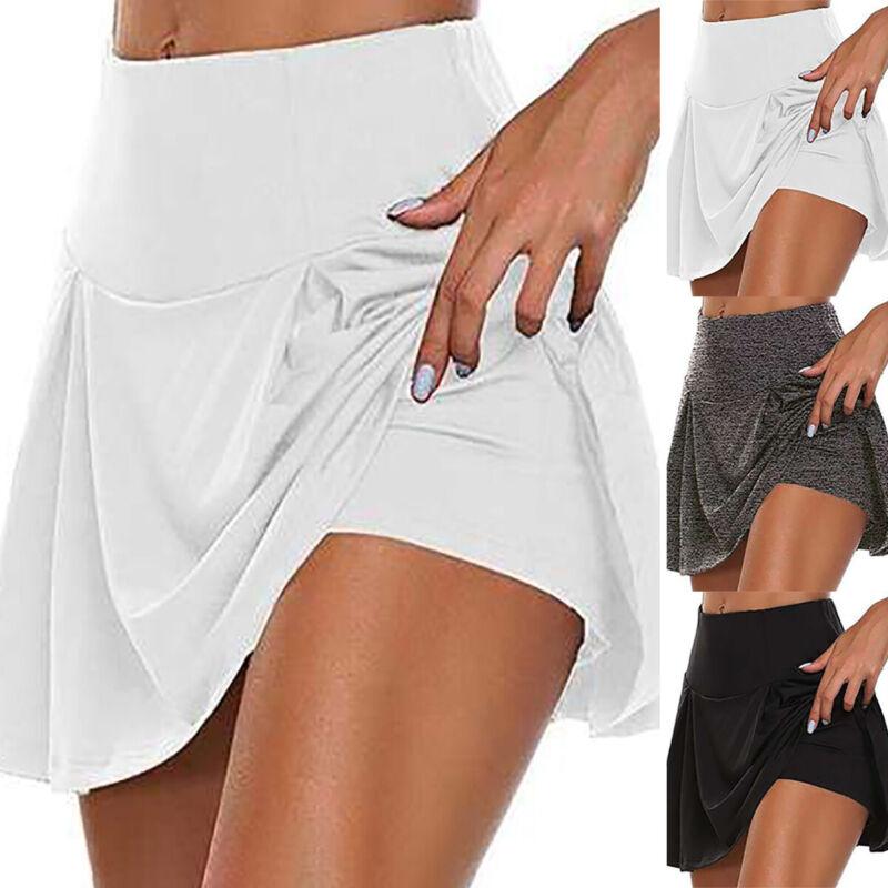 Women Athletic Gym Tennis Golf Skort Jogging Running Performance Layered Shorts Activewear