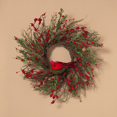 Natural Twig Cedar w/Berry & Cardinal Wreath 24