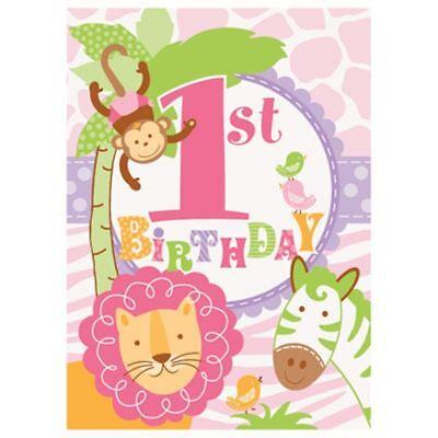 1st Birthday Pink Safari 8 Invitations with Envelopes Animals Monkey (Monkey Invitations)