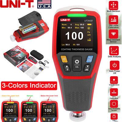 Uni-t Ut343d Digital Paint Coating Thickness Gauge 0 To 1250um Fn Probe Tester