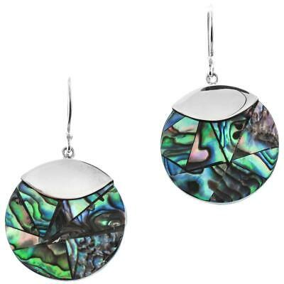 Round Paua Abalone Shell Mosaic 925 Sterling Silver Earrings, 7/8""