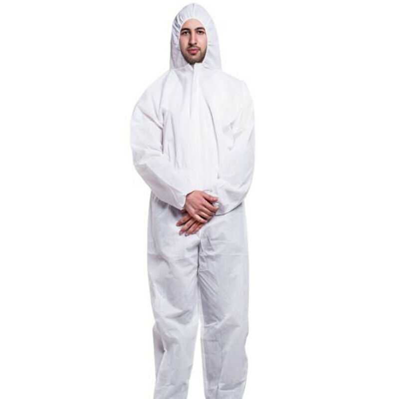 1x Disposable Isolation Clothing White Protective Safety Coveralls Suit One Size