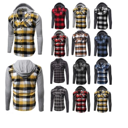 FashionOutfit Casual Plaid Check Detach Hoodie Cotton Flannel Long Sleeve Shirt