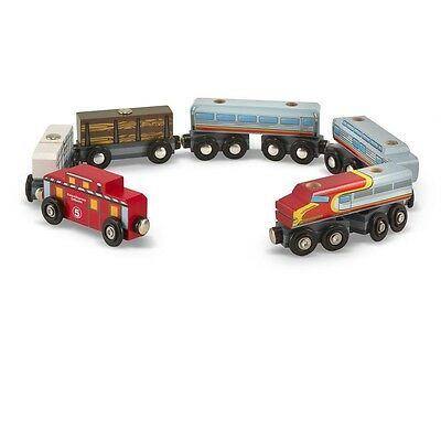 Melissa & Doug Wooden Train Cars Playset, 6-Piece For Ages 3+ Kids, 641 New