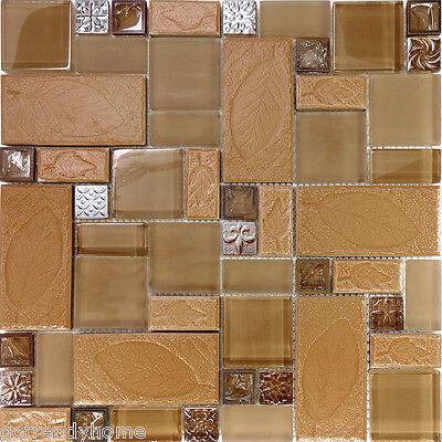 (1SF Brown Leaf Decor Insert Copper Glass Blend Mosaic Tile Kitchen Backsplash)