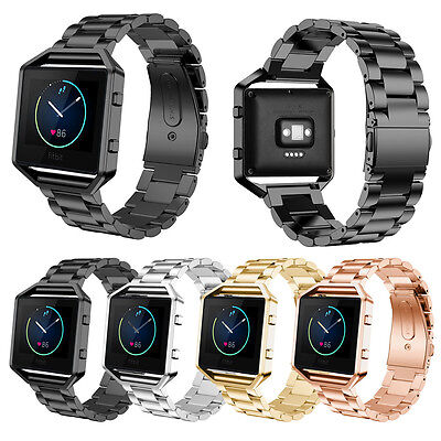Stainless Steel Folding Clasp - Stainless Steel Folding Clasp Watch Wrist band Strap + Frame For Fitbit Blaze