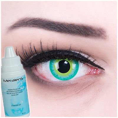 Farbige Crazy Kontaktlinsen grün türkis Green elf Halloween GRATIS Komplettset