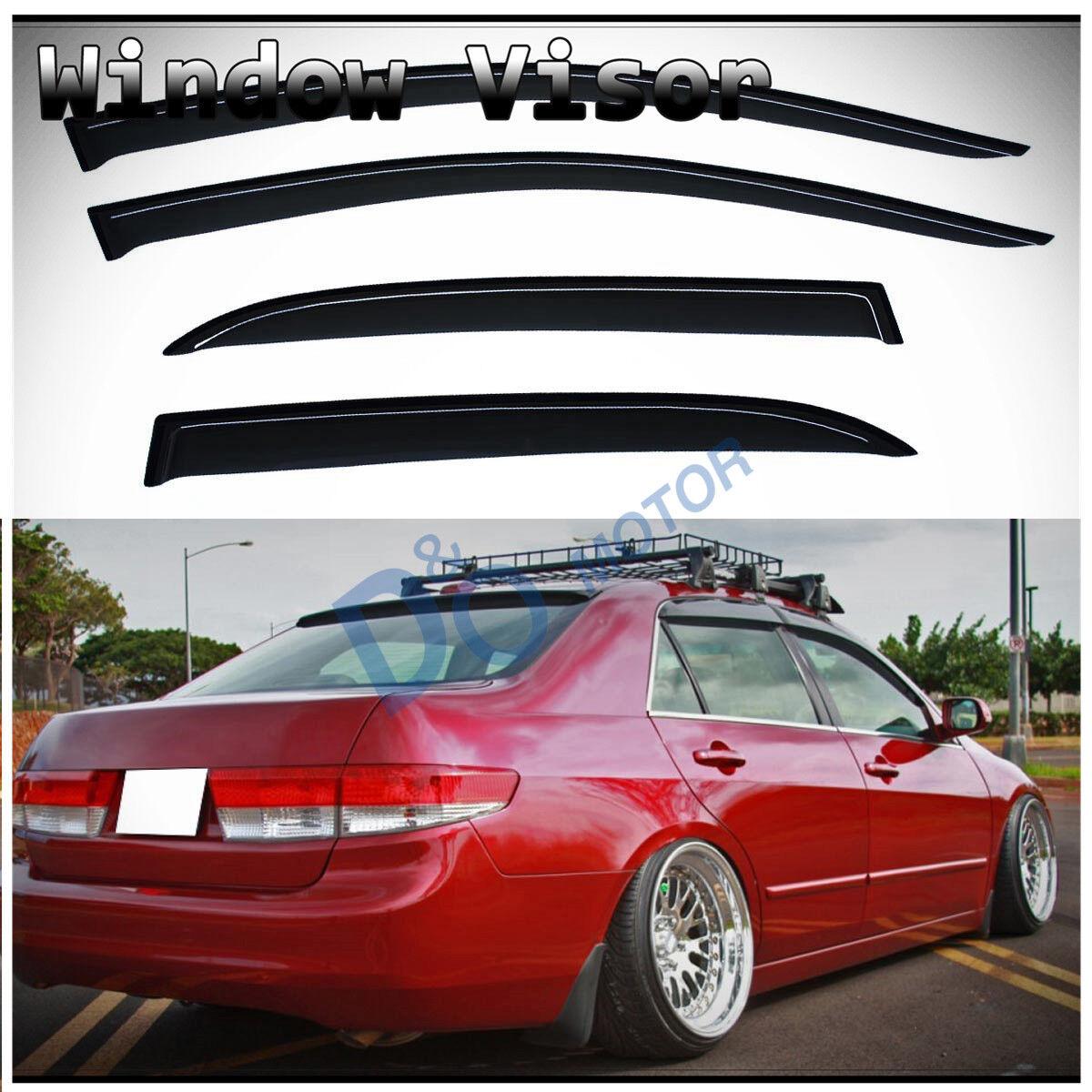 Fit 03-07 Honda Accord Sedan Chrome Trim Injection Side Window Visor Sun Vent