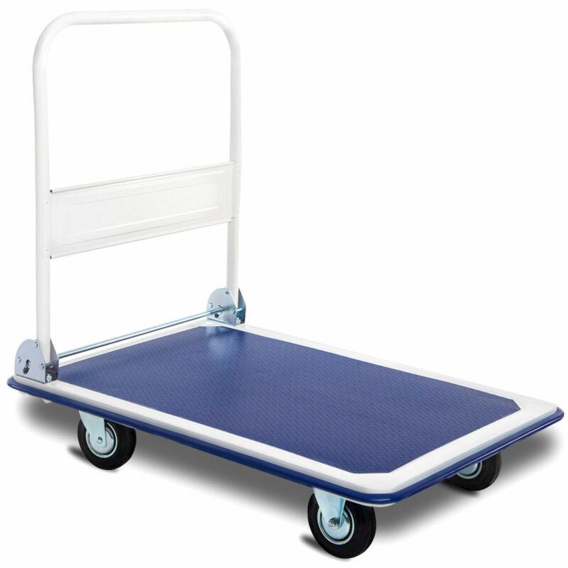 660lbs Warehouse Push Hand Truck Stable Work Platform Cart Dolly Folding