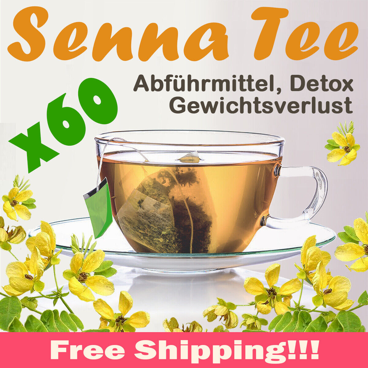 SENNA TEE - Abführmittel,Detox,Gewichtsverlust,60 Teebeutel,kostenloser Versand