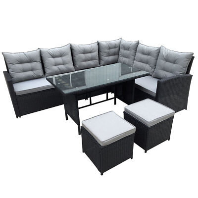 SVITA Polyrattan Essgruppe GARTENMÖBEL Poly Rattan Dining Lounge Set Sofa  Couch