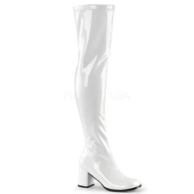 Thigh High Gogo Boots (White Patent Thigh High 60s 70s Hippie Drag Queen Gogo Boots Womans size 13)