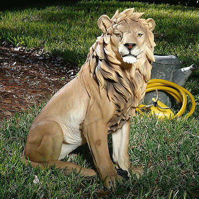 """Design Toscano Exclusive  27"""" Hand Painted King Of Beasts Lion Sculpture"""