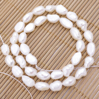 8mmX10mm-12mm freeform natural white pearl loose beads 15