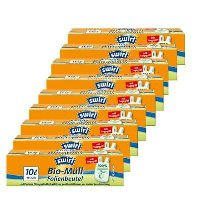 Swirl Bio-Müll Folien-Beutel 10l mit Tragegriff 10 stk./Rolle (9er Pack)