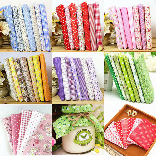 "7PCS Multicolor Assorted DIY Craft Pre Cut Charm 10"" Squares Quilt Cotton Fabric"