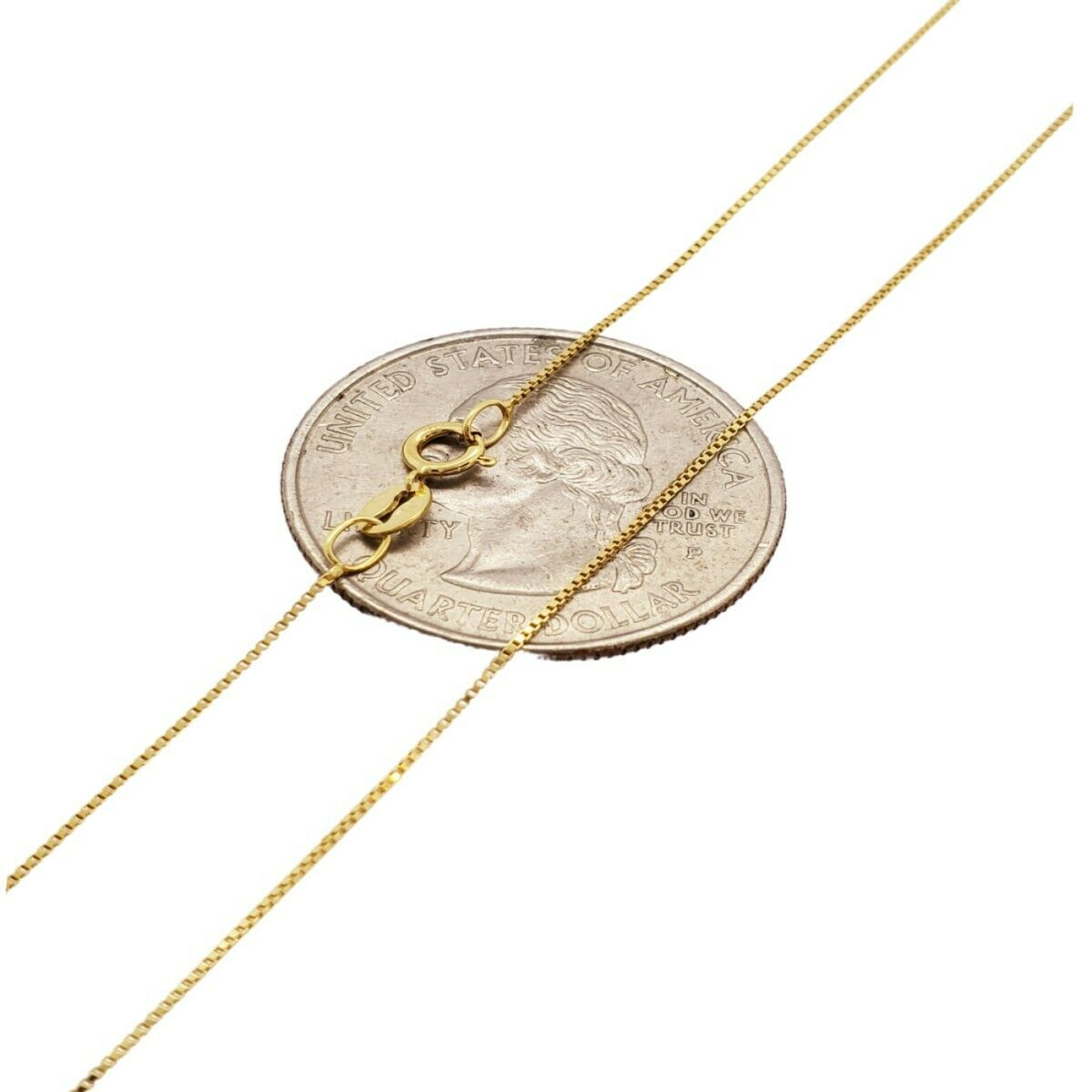 """10K Solid Yellow Gold Italian Box Chain Men's Women's Necklace 16"""" - 24"""" inches 1"""