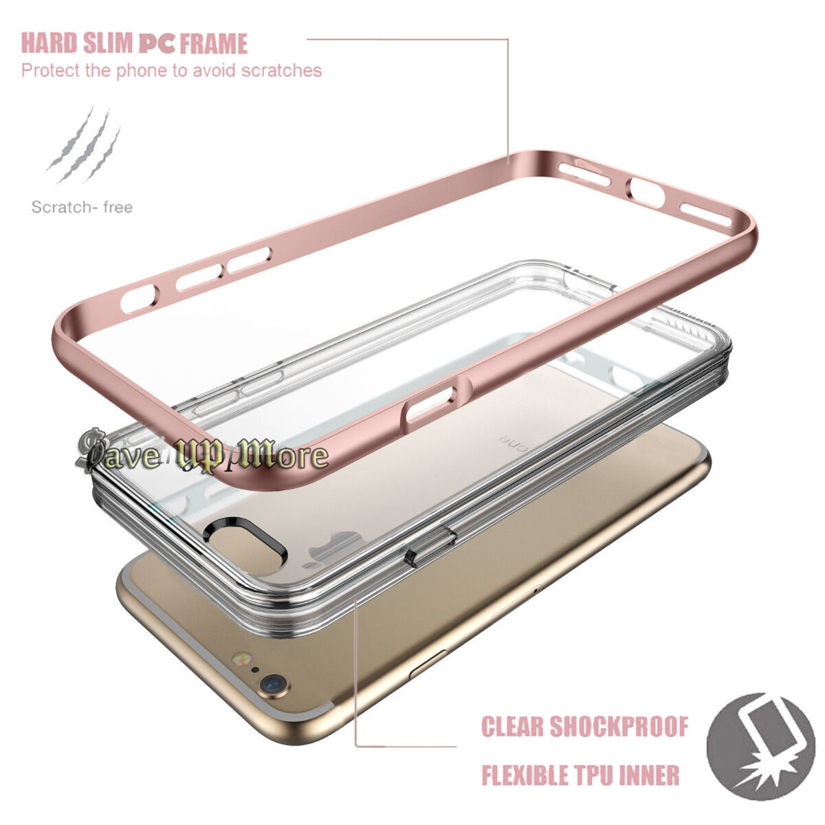 Armor Shockproof PC Hybrid Clear TPU Hard Case Cover For iPhone 6S 7 / 7 Plus