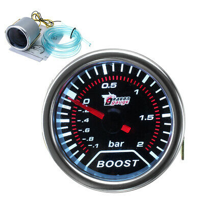 2'' 52mm Turbo Boost -1 To 2 Bar Led Pressure Pointer Gauge Meter Dials Smoked