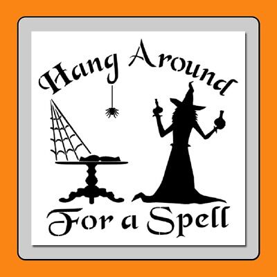 Halloween Witch Sign STENCIL