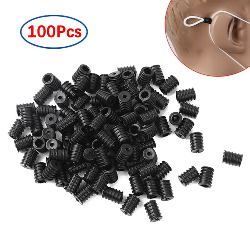 100 Silicone Adjustable Anti-Slip Ear Band Extension Buckle Connectors Rope 10mm