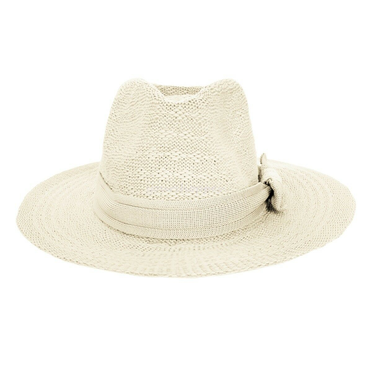 c6bfc9be82c Details about Vintage Women s Brim Floppy Straw Fedora Hat Summer Beach Sun  Cap With Bow Band