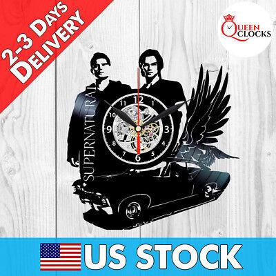 Dean Castiel Supernatural Vinyl Record Wall Clock Decor Fan Gift Art Merchandise